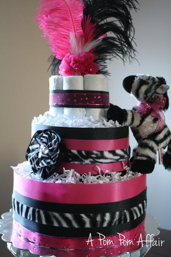 Hot Pink Zebra Diaper Cake
