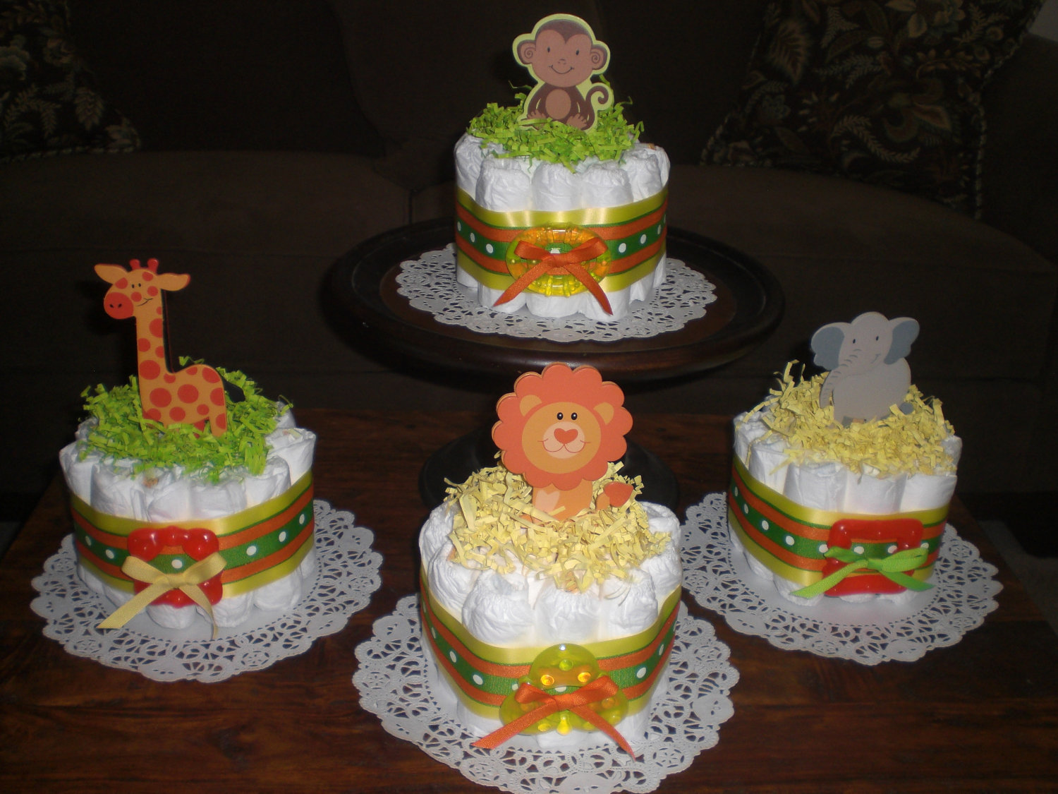 Jungle Safari Baby Shower Diaper Cake Centerpieces