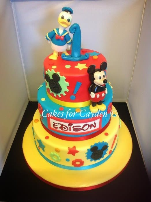 Mickey Mouse and Donald Duck Birthday Cake