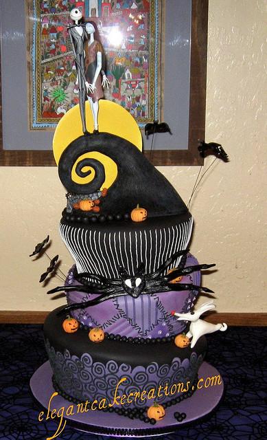 Nightmare Before Christmas Jack and Sally Wedding Cake