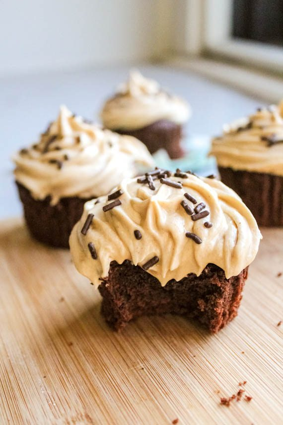 Peanut Butter Brownie Cupcakes with Frosting