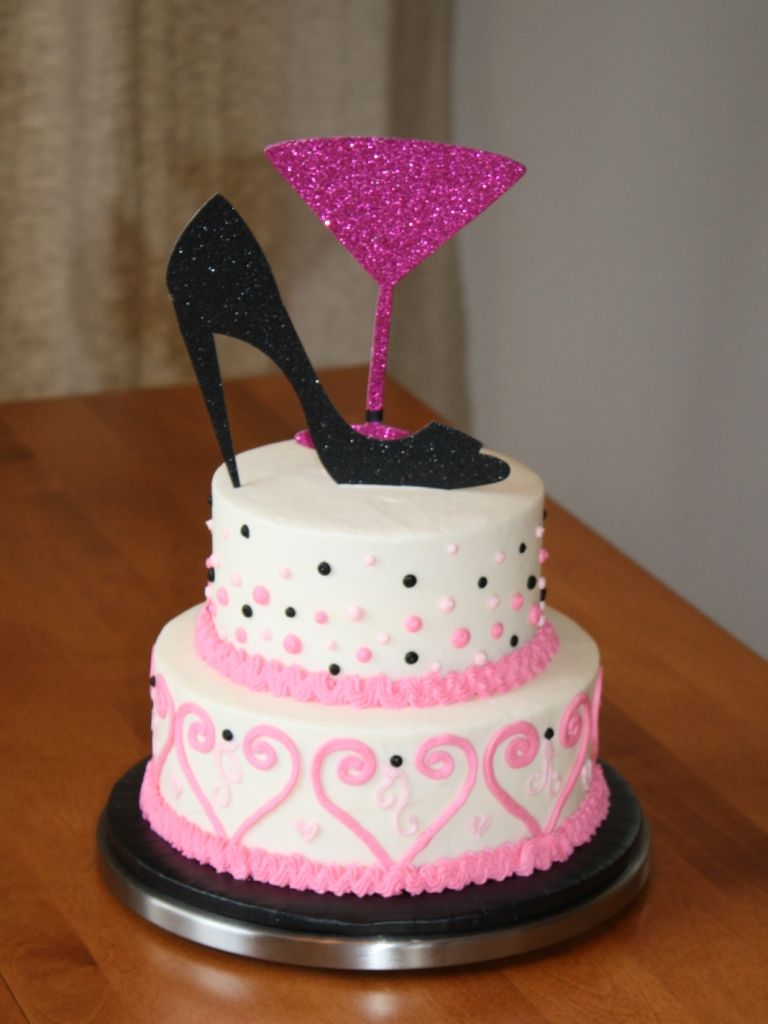 Pink and Black Wedding Shower Cake
