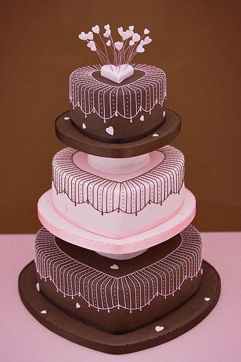 Pink and Chocolate Wedding Cake