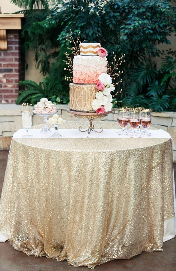 Pink and Gold Wedding Cake Table