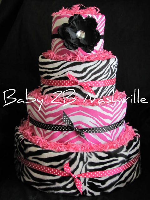 Pink and Zebra Diaper Cakes Girl