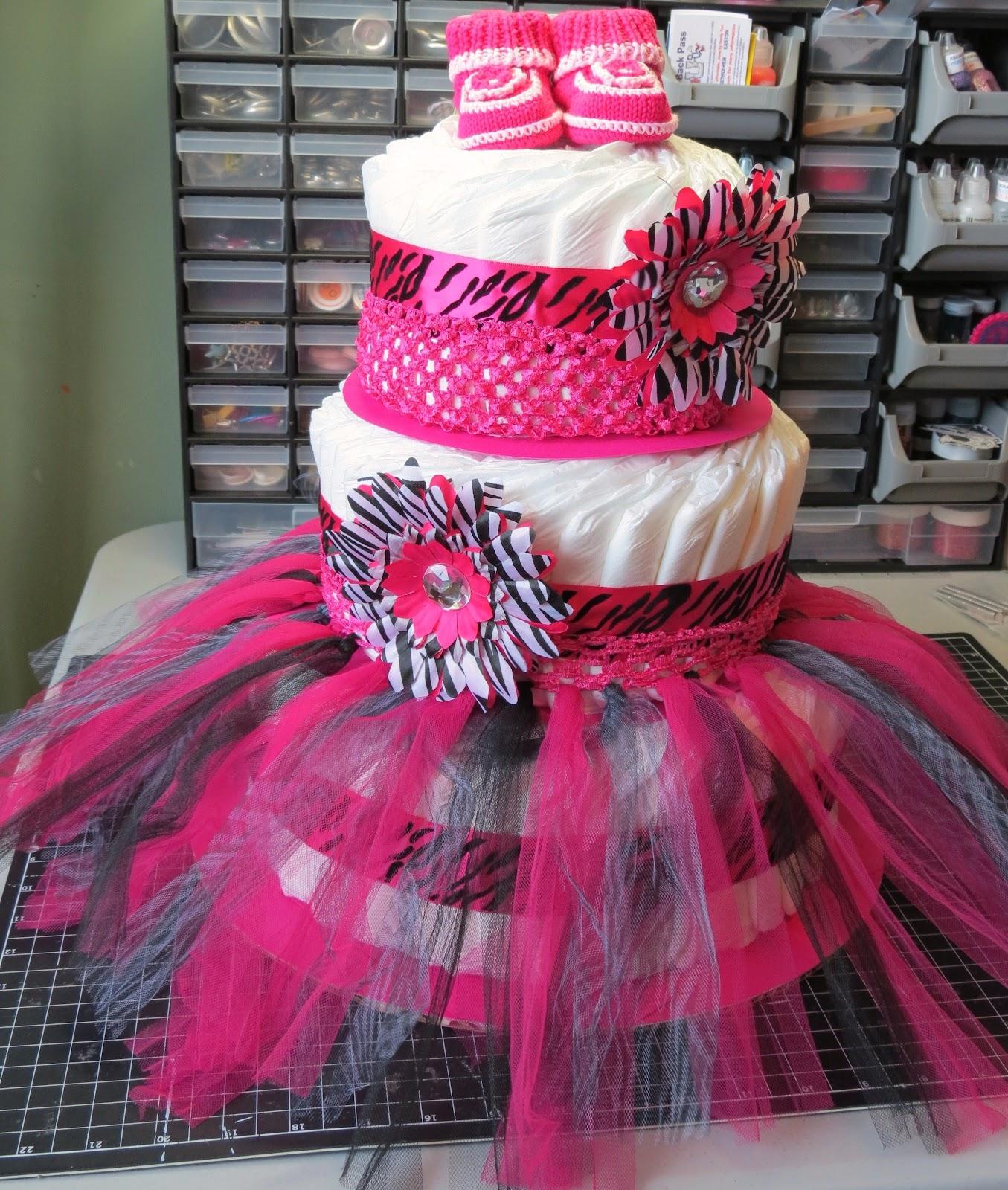 Pink Animal Print Baby Shower Cake