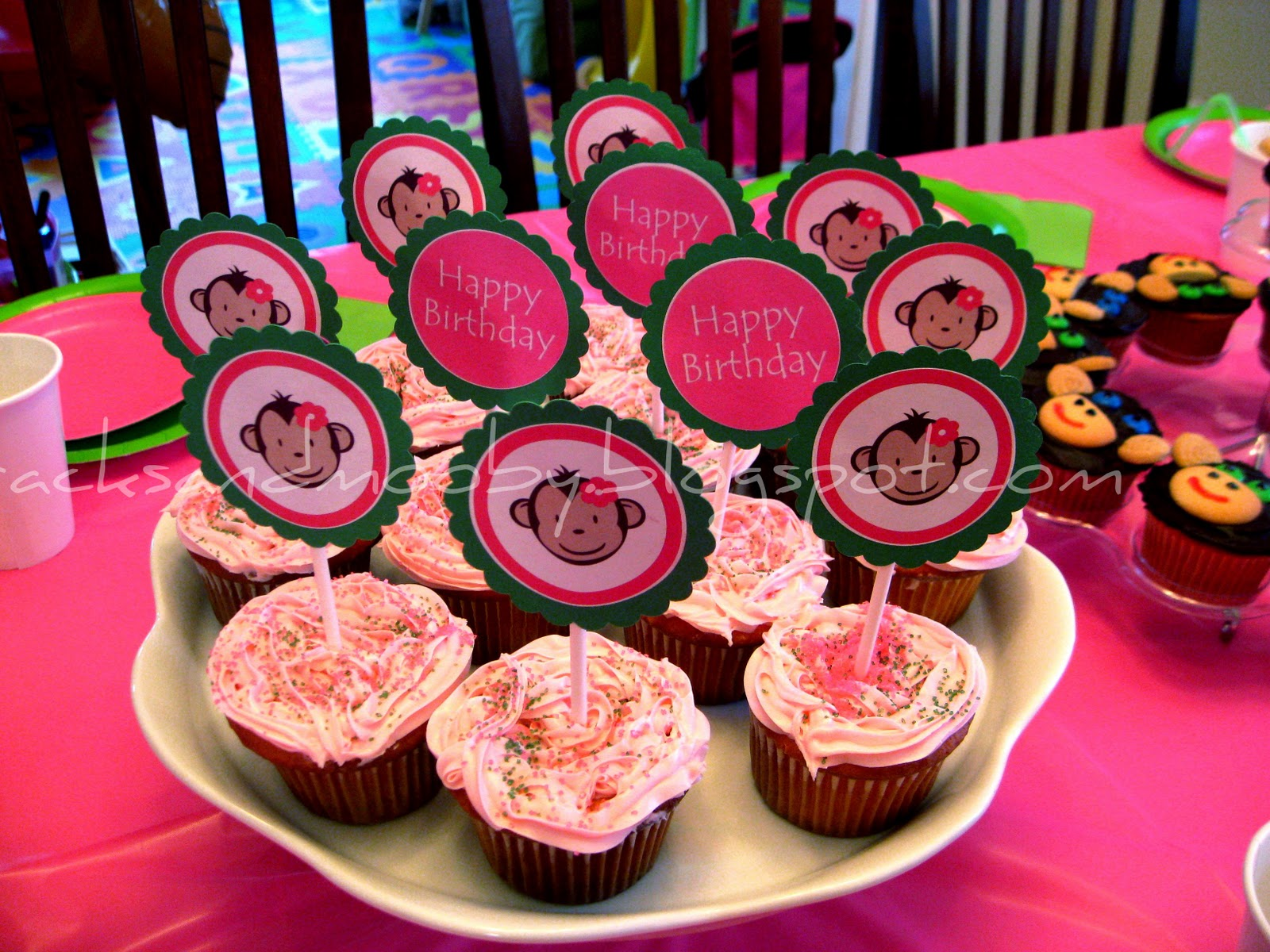 Pink Mod Monkey Cupcake Toppers