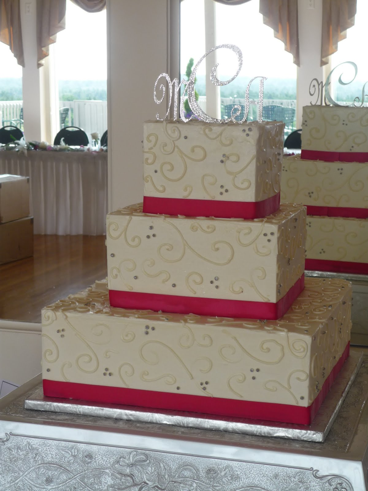 Pink Square Wedding Cake