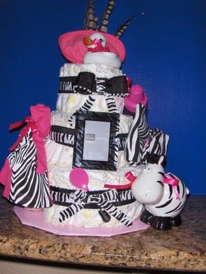 Pink Zebra Print Diaper Cakes