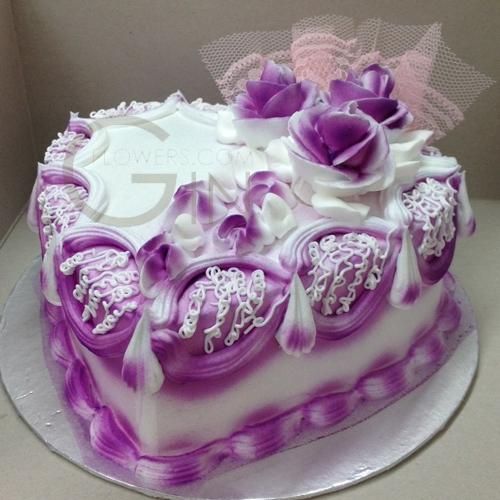 Purple Heart Shaped Birthday Cake