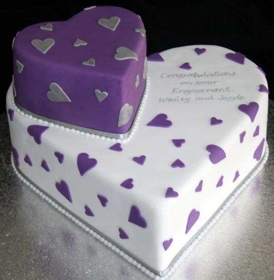 Purple Heart Shaped Wedding Cakes