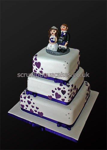 Purple Wedding Cake with Hearts