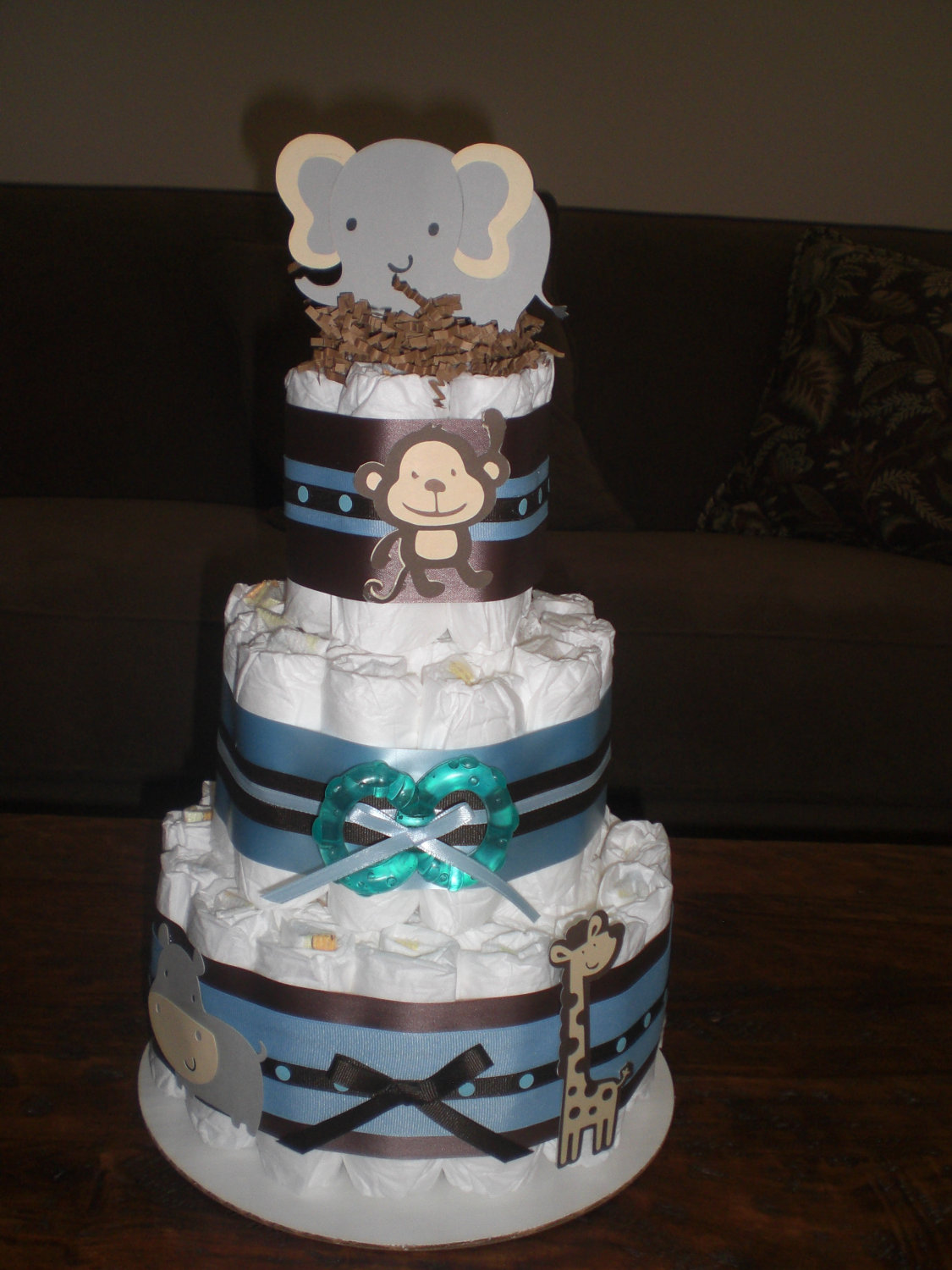 Safari Theme Baby Shower Diaper Cake