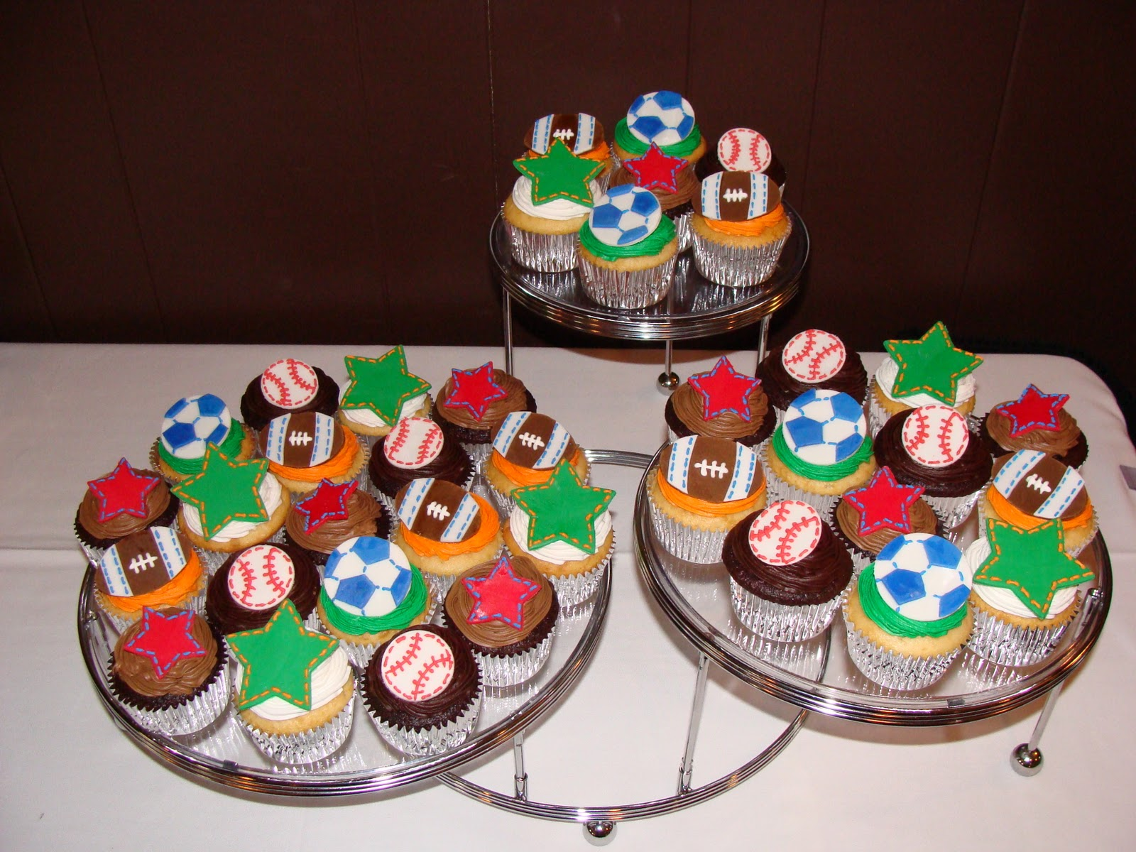 Sports Themed Baby Shower Cupcakes