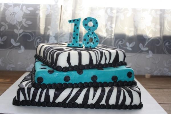 Teal and Black Zebra Cake