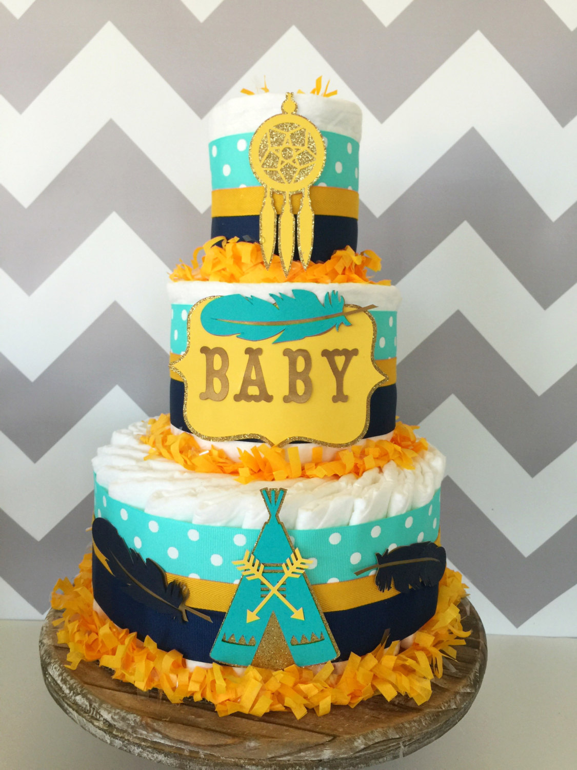 Teal and Yellow Baby Shower Cakes