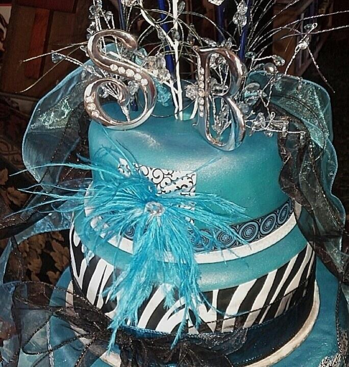 Teal and Zebra Birthday Cake