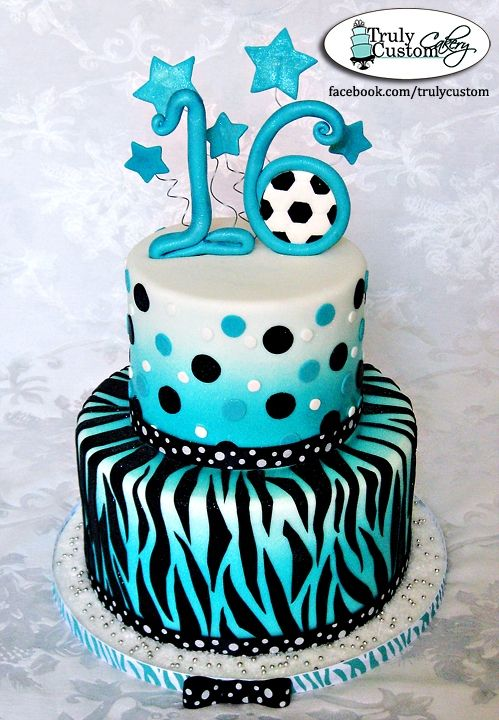 Teal Sweet 16 Birthday Cakes