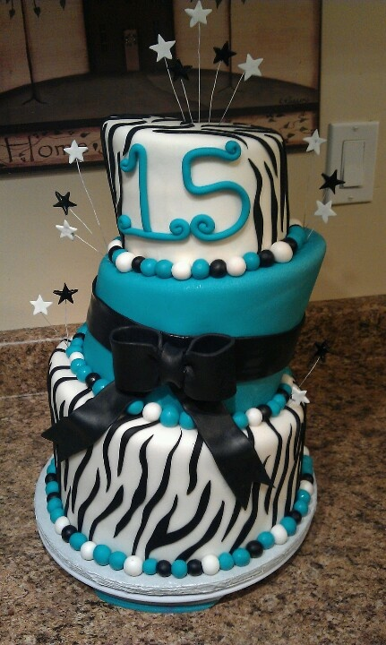Teal Zebra Birthday Cake