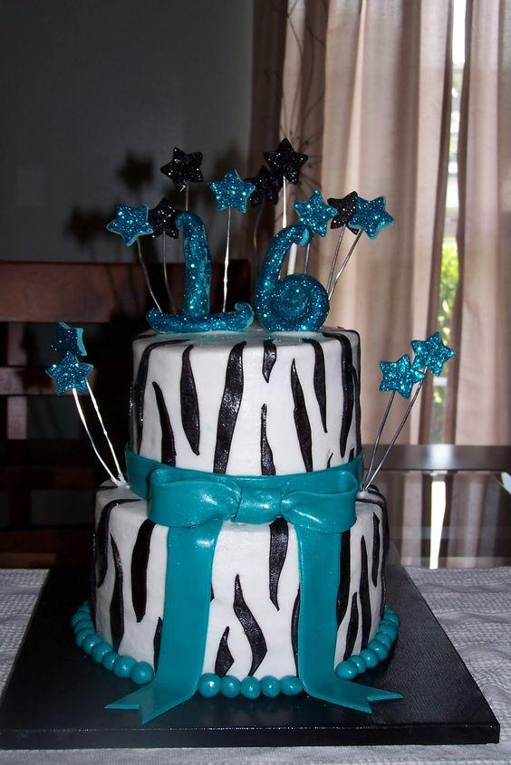 Teal Zebra Birthday Cakes for Girls