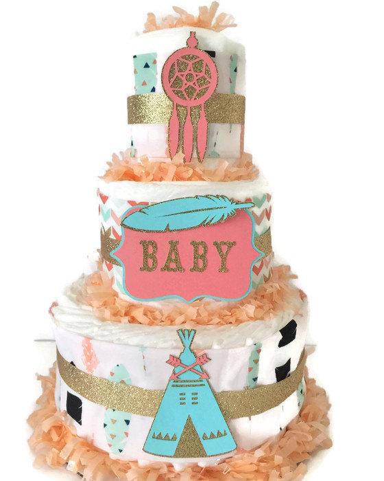 Tribal Baby Shower Diaper Cake