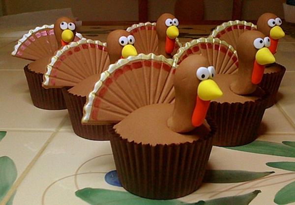 Turkey Thanksgiving Cupcakes Decorating Idea