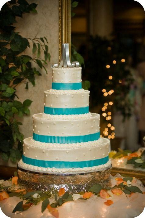 Turquoise and White Wedding Cake