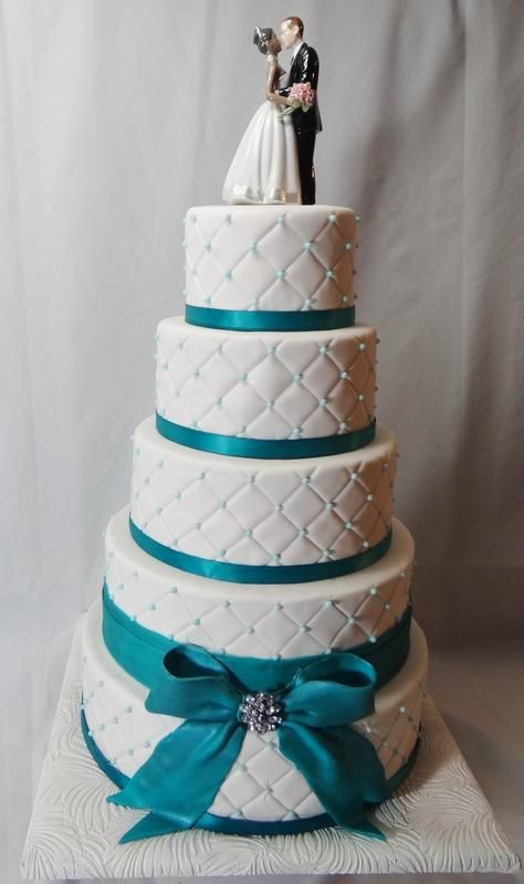 8 Photos of Turquoise Silver And White 2 Tier Wedding Cakes