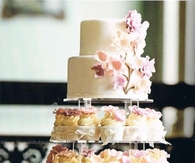 Two Tier Wedding Cake with Cupcakes