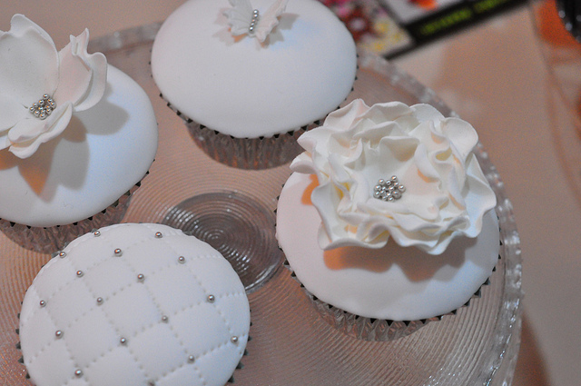 White and Silver Wedding Cupcakes