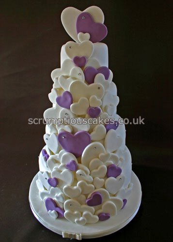 White Wedding Cakes with Purple Hearts