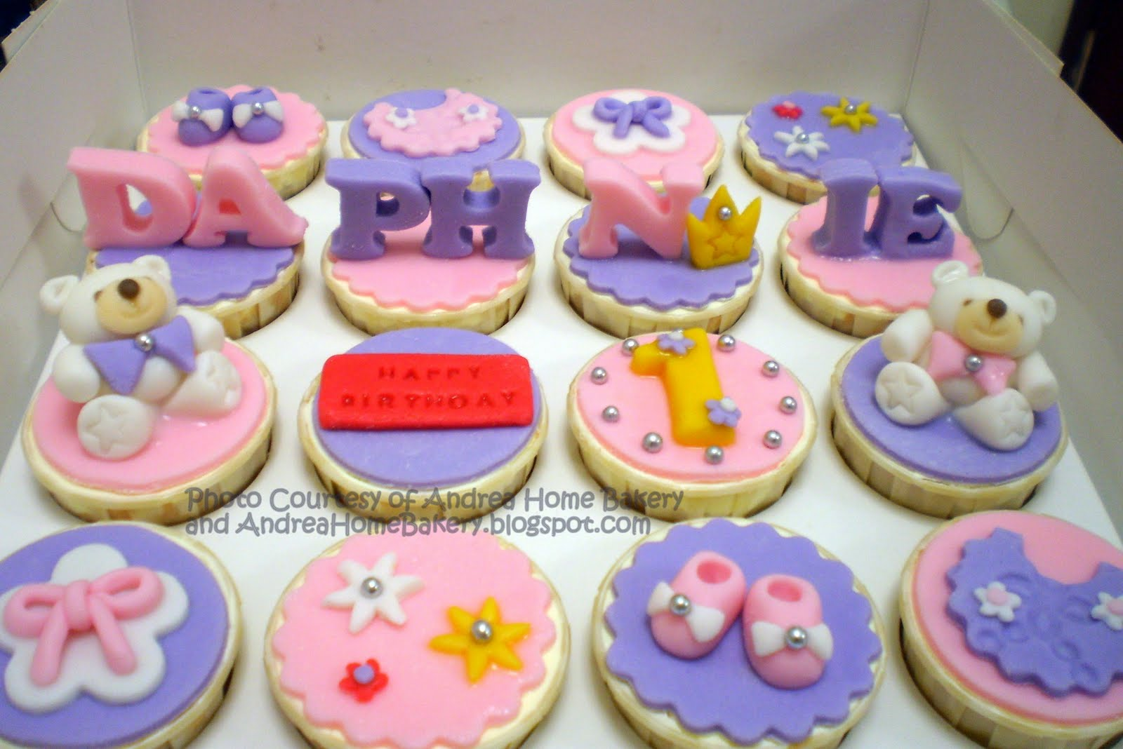 Baby Girls Cupcake 1st Birthday Cake