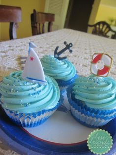 Beach Themed Birthday Cupcakes