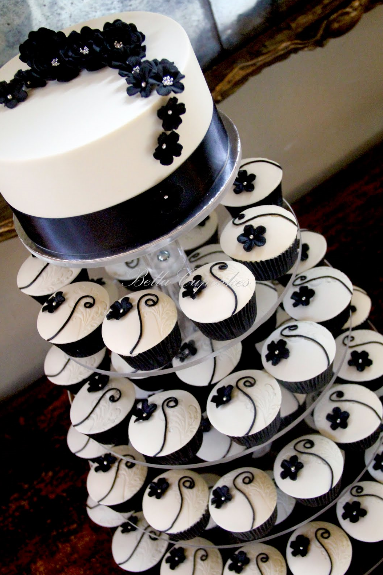 Black Wedding Cakes and Cupcakes