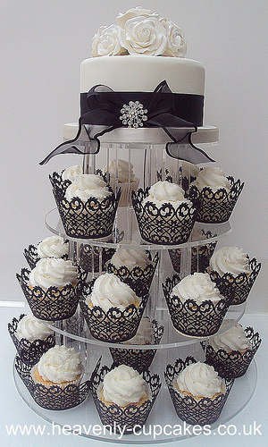 Black & White Cupcake Wedding Cake