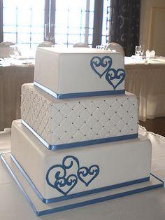 Blue Hearts Wedding Cake