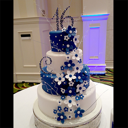 Blue Sweet 16 Birthday Cakes
