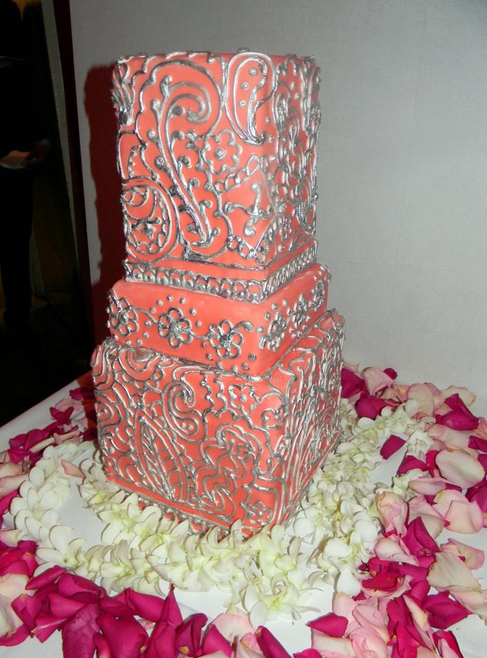 Coral and Silver Wedding Cakes