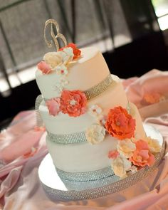 Coral Gray Silver Wedding Cake