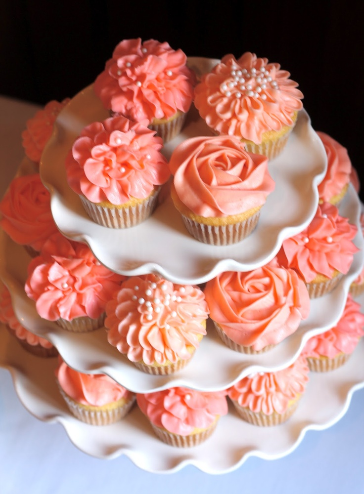 Coral Wedding Cake and Cupcakes