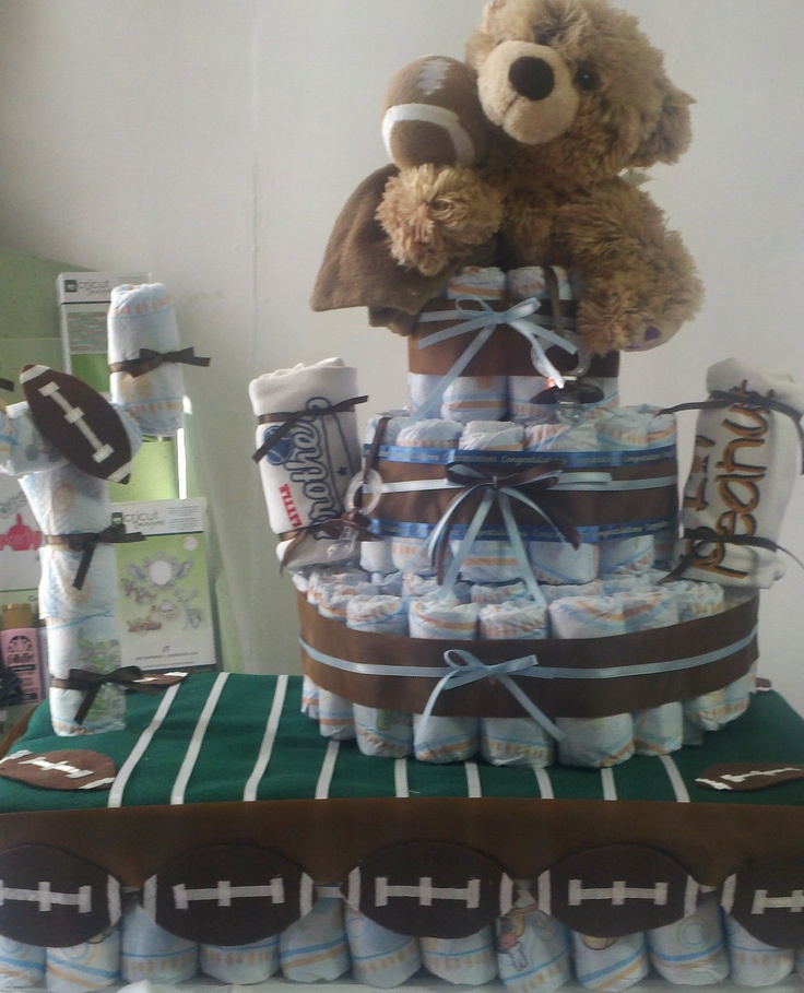 Football Themed Baby Shower Diaper Cake