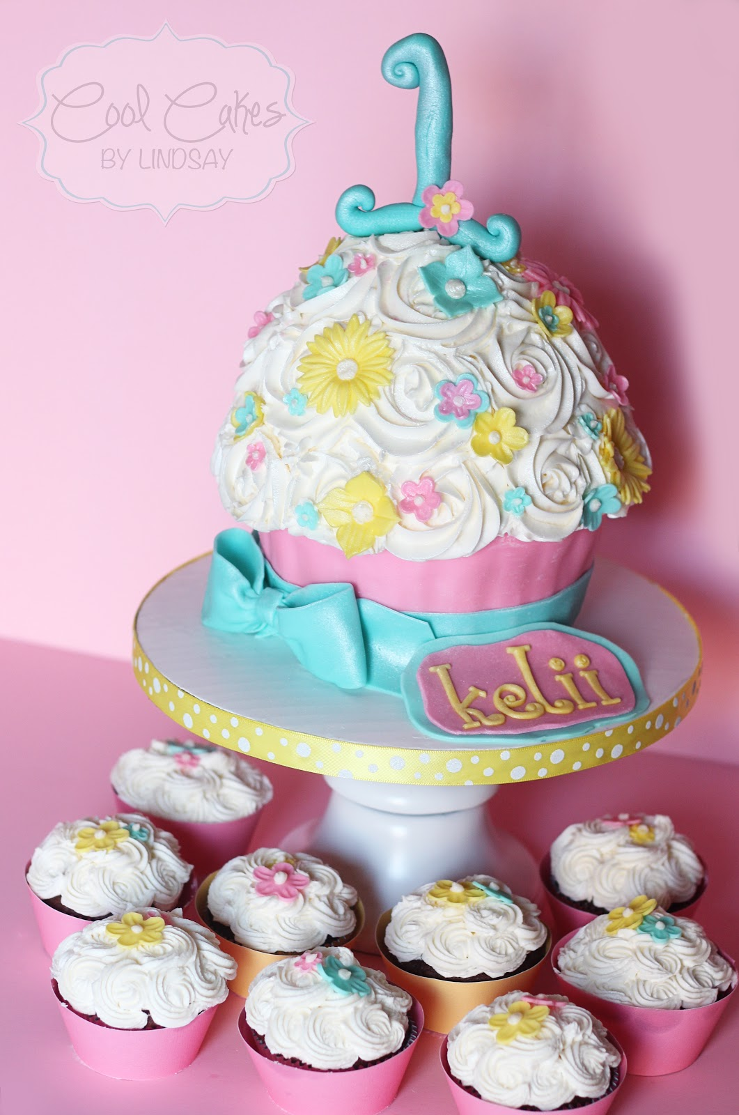Girl 1st Birthday Giant Cupcake Cake