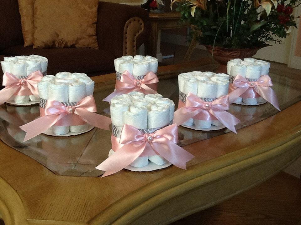 Girl Baby Shower Diaper Cake Centerpiece