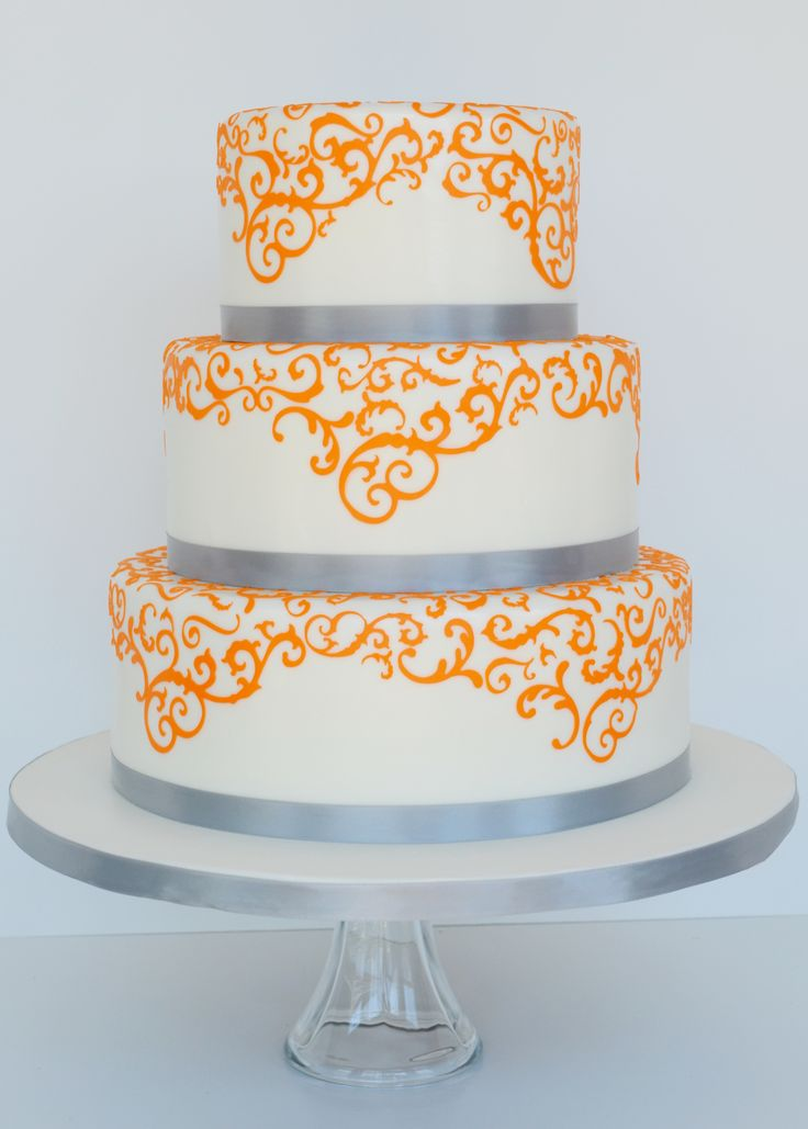 Gray and Orange Wedding Cakes