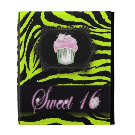 Green Zebra Print Cupcakes