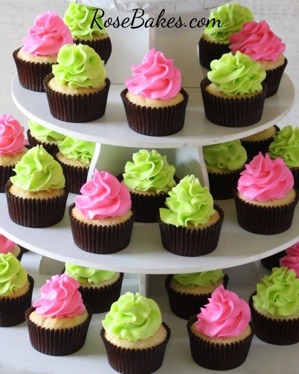 Hot Pink and Lime Green Cupcakes