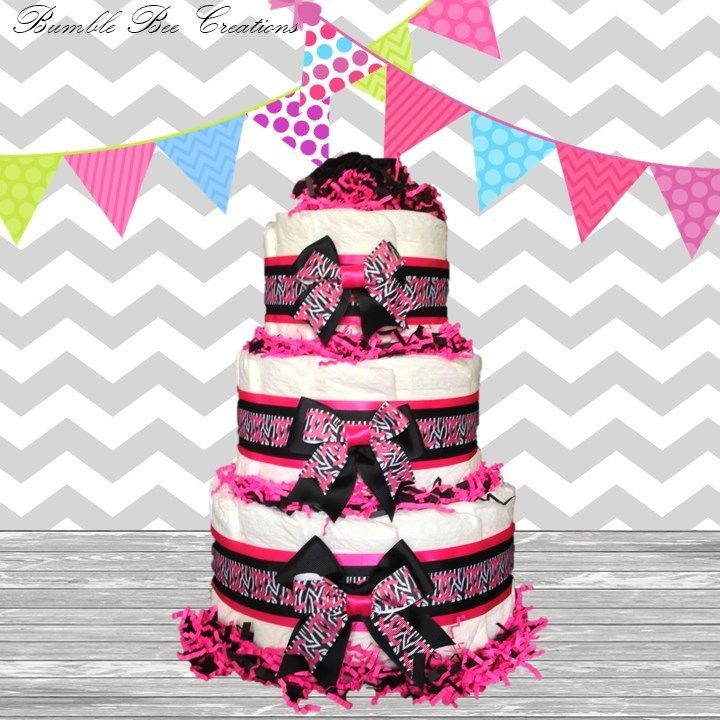 Hot Pink Zebra Print Baby Shower Cake