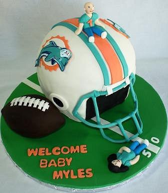 Miami Dolphin Football Baby Shower Cake