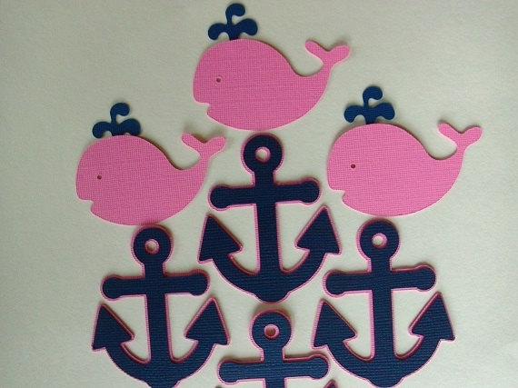 Navy and Pink Nautical Cupcake Toppers