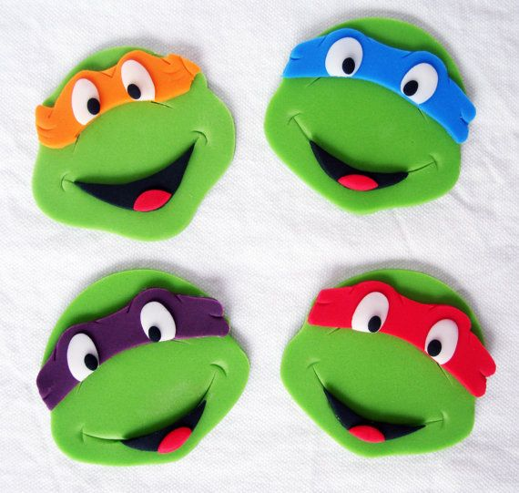 Ninja Turtle Edible Cupcake Toppers